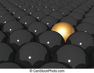 Gold sphere in row of black spheres