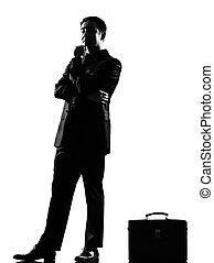 silhouette man thinking pensive - silhouette caucasian...
