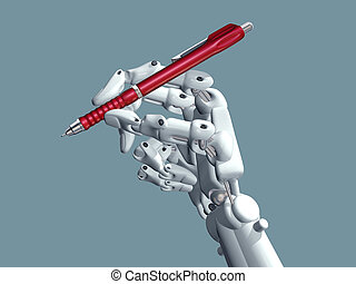 Science Fiction - Illustration of a robot holding a pen