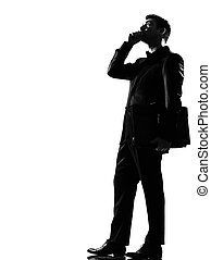 silhouette man on the phone - silhouette caucasian business...