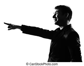 silhouette man pointing mocking sneering - silhouette...