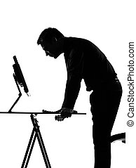 silhouette man computing - silhouette caucasian business man...