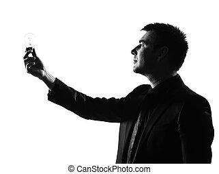 silhouette  man  holding light bulb