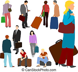 People Travelling Set 01 - Illustrations set of people...