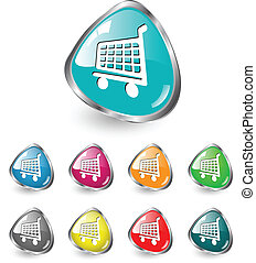 Shopping cart icon vector set