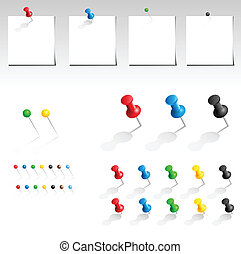 Vector push pin collection - Vector push pin multicolored...