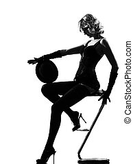 élégant, silhouette, femme, danse, cabaret
