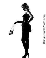 elegante, silhouette, donna, sexy, borsellino