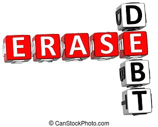 3D Erase Debt Crossword on white background