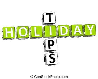 3D Holiday Tips Crossword on white background