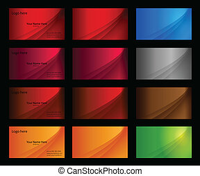 Business card templates many colours - vector