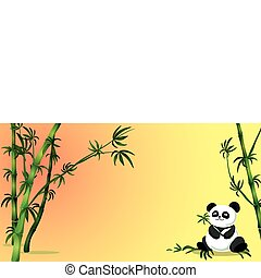 Panda Bear - panda bear holding a branch with bamboo trees...