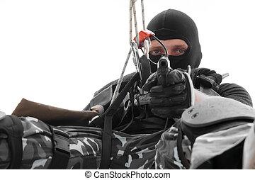 マスク, ロープ, 兵士, 黒, 掛かること, ピストル