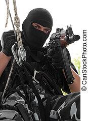 ライフル銃, マスク, ロープ, 兵士, 黒, 掛かること