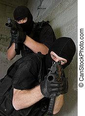 soldados, negro, máscaras, Apuntar, AK-47, Rifles