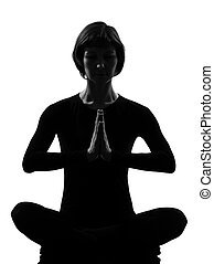 woman sukhasana pose meditation yoga posture position in...