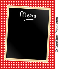 Menu board on gingham - A menu card chalkboard on gingham...