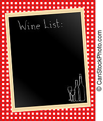 Wine list on gingham - A vector illustration of a wine list...