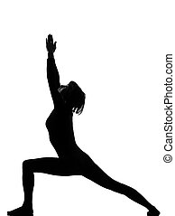 virabhadrasana 1 warrior postion yoga woman - woman...