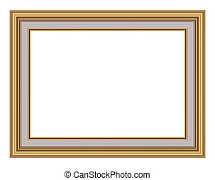 gold picture frame isolated on white - gold picture frame...