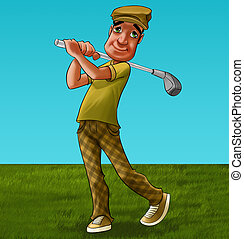 the golf player - golf player in the field he has...