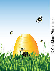 Beehive - Vector illustration of honey bees around a hive in...