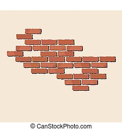 Bricks - A vector illustration of exposed red bricks on...