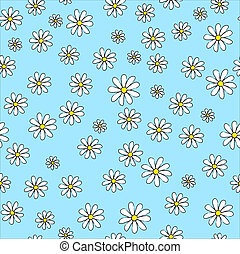 Daisies - A seamless vector background of daisies on blue...