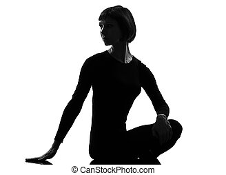 woman sukhasana woman yoga pose rotation - sukhasana woman...