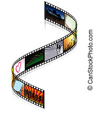 Colored Filmstrip - detailed illustration, vector