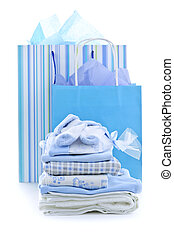 Baby shower presents - Gift bags and infant clothes for baby...