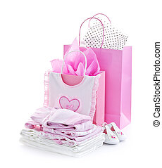 Pink baby shower presents - Pink gift bags and infant...