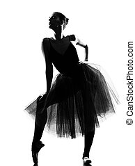 woman ballet dancer standing pose - beautiful caucasian tall...