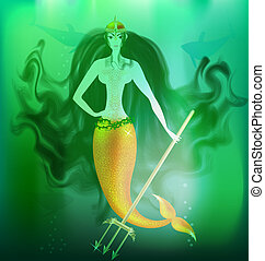 mermaid - in the depths of the sea is a anger mermaid with a...