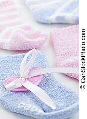 Baby socks gift - Pink and blue infant socks for baby shower...
