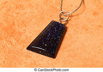 Onyx stone pendant - Cairo night on brick colored background