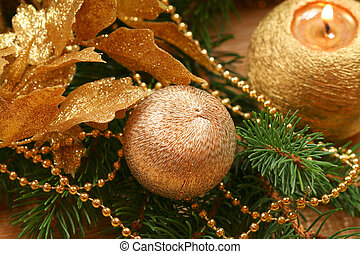Golden Christmas wreath - Golden Christmas decoration...