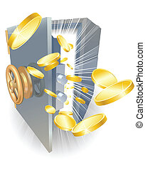 Safe with gold coins flying out - Illustration of a safe...