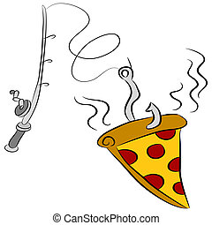 Pizza Fishing Lure - An image of a slice of pizza dangling...