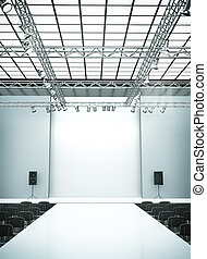 Catwalk - Empty fashion show stage with runway. 3D rendered...