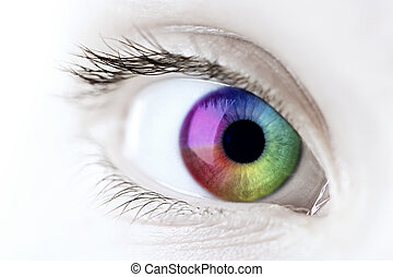 Rainbow eye closeup - Female eye with rainbow multicolored...