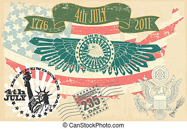 Independence Day of the USA stamp - The vector image of...