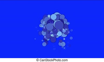 blue flare circle and bubble with stars underwater.