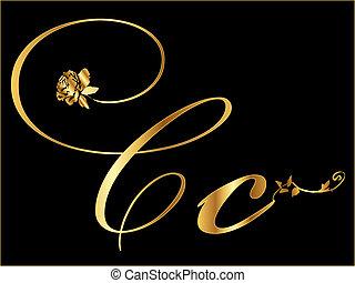 Golden Vector Letter C