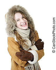 Laughing winter girl in hood - Playful young woman in winter...