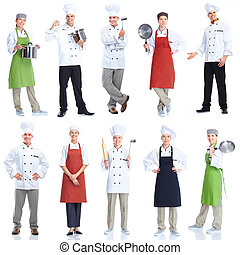 Chef team.  Isolated over white background. Gourmet.