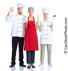 Chef team Isolated over white background Gourmet