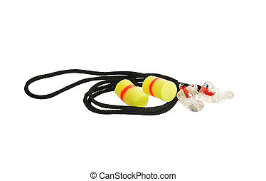 Ears protection set pair of foam ear plugs and pair of...