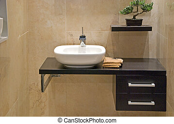 modern bathroom - modern bathrooom with white sink and tap