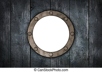 porthole in wooden wound - 3d illustration